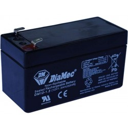 12V 1,3Ah Diamec DM12-1,3 sealed lead acid battery