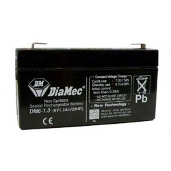 06V 1.3Ah Diamec DM6-1.3 sealed lead acid battery